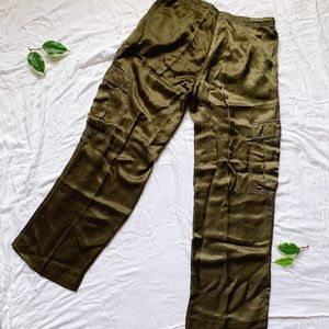Johnny Was Pants & Jumpsuits - JOHNNY WAS Olive Green Silky Cargo
